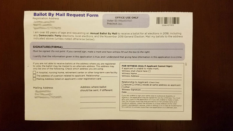 application for ballots by mail