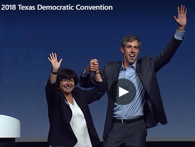 Lupe Gonzales and Beto O'Rourke at 2018 Democratic State Convention