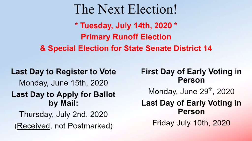 Voting deadlines for July runoff